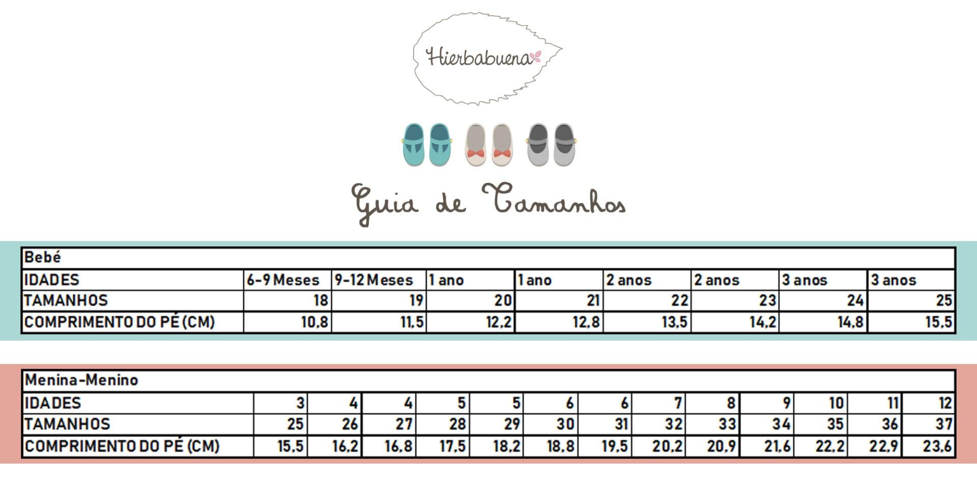 Tabela - Guia tamanhos